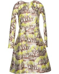 Marni Round Collar Crêpe Light Yellow Dress - Lyst