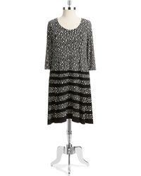 Anne Klein Plus Long Sleeved Patterned Dress - Lyst