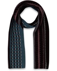 Quinton-chadwick - Blue Brick And Track Wool Scarf - Lyst