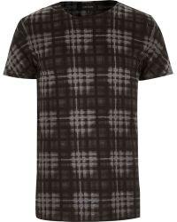River Island Grey Burnout Check Print T-shirt - Lyst