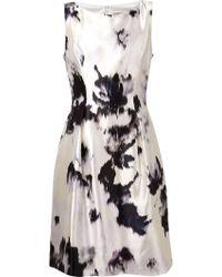 Lela Rose Ivory And Black Printed Dress - Lyst