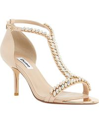 Dune Melodee Jewelled T-Bar Leather Sandals - For Women beige - Lyst