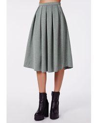 Missguided Auberta Pleated Midi Skirt Grey - Lyst