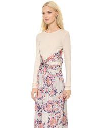 Thakoon Long Sleeve Wrap Waist Dress Grey Multi - Lyst