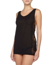 La Perla Pizzo Lace Chiffon Babydoll with Side-tie Briefs - Lyst