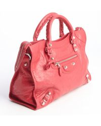 Balenciaga Rose Leather Giant City Convertible Shoulder Bag - Lyst