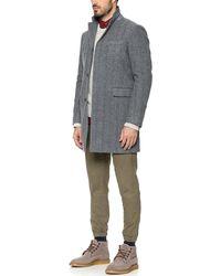 Vince Herringbone Wool Topcoat - Lyst
