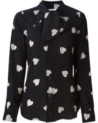 Moschino Heart-Print Silk Blouse - Lyst