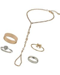 TOPSHOP - Circle Link Ring and Hand Chain Set - Lyst
