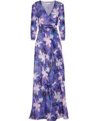 Matthew Williamson Printed Silk-chiffon Wrap Gown - Lyst