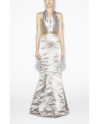 Nicole Miller Techno Metal Halter Gown - Lyst