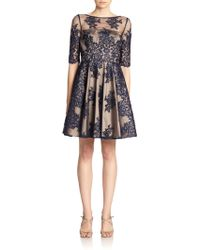 ML Monique Lhuillier Embroidered-Lace Tulle Dress - Lyst