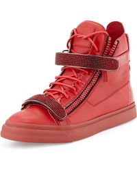 Giuseppe Zanotti Mens Crystalstrap Hightop Sneaker - Lyst