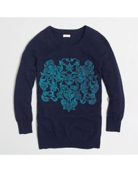 J.Crew Factory Embossed Floral Sweater - Lyst