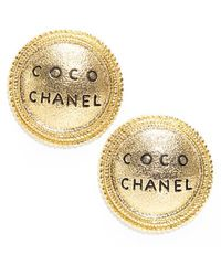 Chanel Preowned Coco Medallion Clip On Earrings - Lyst