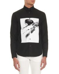 McQ by Alexander McQueen Abstract Print Cotton Poplin Shirt black - Lyst