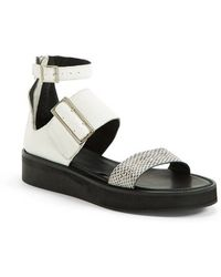 Helmut Lang Women'S Genuine Snakeskin & Leather Three-Strap Platform Sandal - Lyst