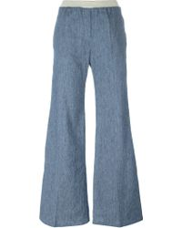 8pm - Stripe Appliqué Flared Jeans - Lyst