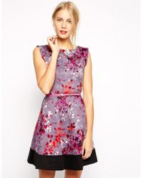 Oasis Painterly Floral Skater Dress - Lyst