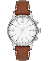 Burberry Womens Swiss Smooth Tan Leather Strap 38mm - Lyst
