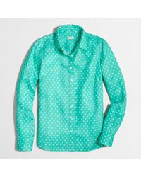 J.Crew Factory Printed Classic Buttondown Shirt in Linen - Lyst
