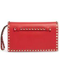 Valentino 'Rockstud' Nappa Leather Flap Clutch - Lyst