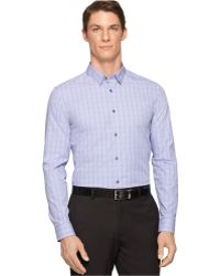 Calvin Klein End-On-End Check Slim-Fit Shirt blue - Lyst