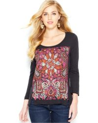 Lucky Brand Jeans Lucky Brand Three-Quarter-Sleeve Printed Tee - Lyst