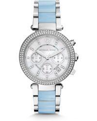 Michael Kors Parker Glitz Stainless Steel & Acetate Chronograph Bracelet Watch - Lyst