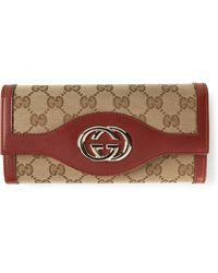 Gucci Monogram Plaque Wallet - Lyst
