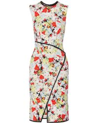 Erdem Jossette Leathertrimmed Printed Stretchtwill Dress - Lyst