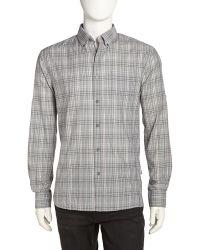 John Varvatos Plaid Poplin Sport Shirt - Lyst