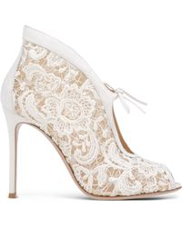 Gianvito Rossi   Lace and Leather Ankle Boots   Lyst