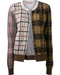 Marni Patchwork Plaid Cardigan - Lyst