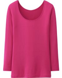 Uniqlo Heattech Scoop Neck Long Sleeve T-Shirt - Lyst