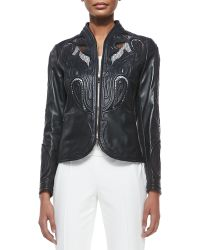 Escada Laser-cut Leather Jacket - Lyst
