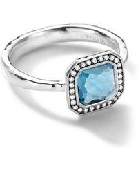 Ippolita - Sterling Silver Stella Square London Blue Topaz Ring With Diamonds - Lyst