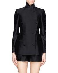 Alexander McQueen Asymmetric Wool-Silk Double Breasted Jacket black - Lyst