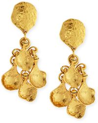 Jose & Maria Barrera | Gold-plated Hammered Disc Clip Drop Earrings | Lyst