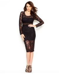 Guess Long-sleeve Lace Illusion Dress - Lyst