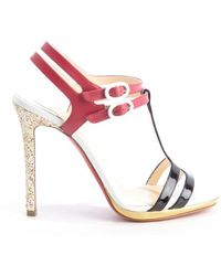 Christian Louboutin Pink And Black Leather Glitter Heel 'Double Tutti' Sandals - Lyst