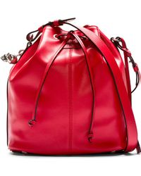 Alexander McQueen Red Leather Bucket Bag - Lyst
