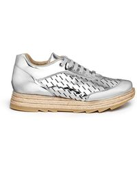 Stella McCartney 'Macy' Metallic Faux Leather Espadrille Sneakers silver - Lyst