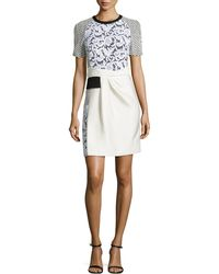 J. Mendel Short Sleeve Mixed Lace Dress - Lyst