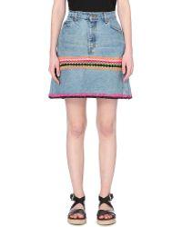 Katie Jones - Embroidered Denim Skirt - Lyst