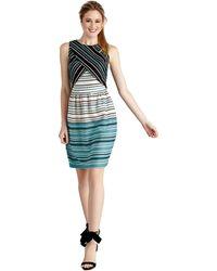 Donna Morgan Wrap Bodice Striped Popover Dress - Lyst