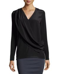 Nicole Miller Liam Enzyme Washed Silk Draped Top - Lyst