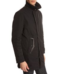 Armani Navy Trench Coat With Leather Patch - Lyst