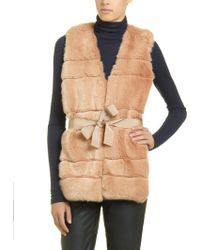 Patrizia Pepe Faux Fur Gilet with Horizontal Detailing - Lyst