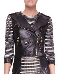 Versace Woven 34sleeve Leather Moto Jacket - Lyst